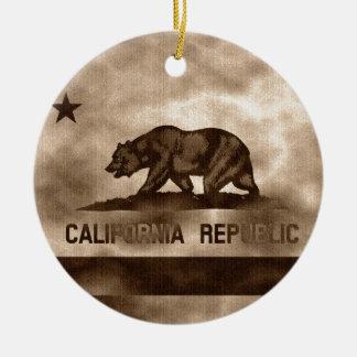 カリフォルニア老化させた旗 セラミックオーナメント