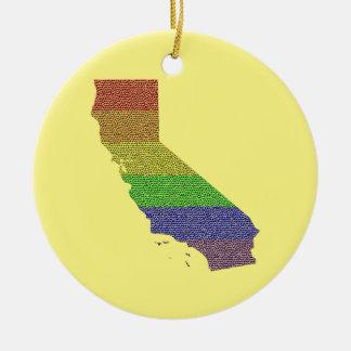 カリフォルニア虹のプライドの旗のモザイク セラミックオーナメント