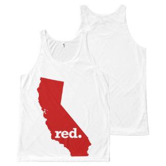 カリフォルニア赤い州 オールオーバープリントタンクトップ