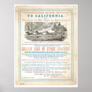 カリフォルニア1866年(1257A Unrestored)への陸上郵便ルート- ポスター