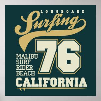 |カリフォルニア76をサーフするLongboard ポスター