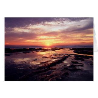 カリフォルニア、サンディエゴの日没の崖、日没3 カード