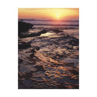 カリフォルニア、サンディエゴ、La Jollaの日没 キャンバスプリント