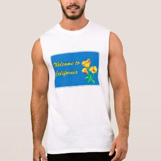 カリフォルニア-米国へようこそ交通標識 袖なしシャツ