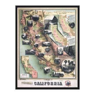 カリフォルニア(1888年)のユニークな地図 キャンバスプリント