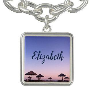 カリフォルニアpalapaのビーチの日没の写真の名前をカスタムする チャームブレスレット