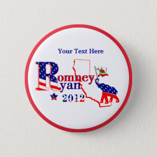 カリフォルニアRomneyおよびライアン2012ボタン-カスタマイズ 5.7cm 丸型バッジ