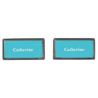 カリブので青いカスタマイズ可能 ガンメタル カフスボタン