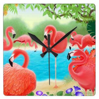 カリブのなピンクのフラミンゴの鳥の柱時計 スクエア壁時計