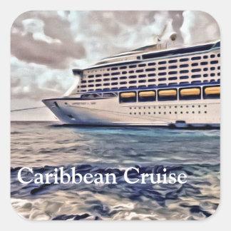 カリブのな巡航-光沢のある正方形のステッカー スクエアシール