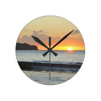 カリブのな日没 ラウンド壁時計