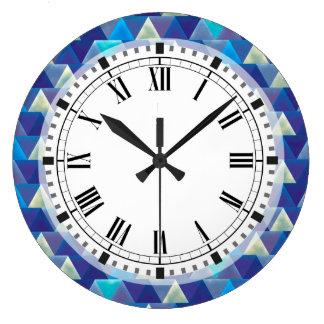 カリブのな水青い幾何学的 ラージ壁時計