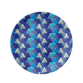 カリブのな水青い幾何学的 磁器プレート