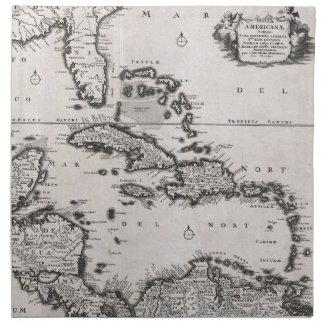 カリブのののヴィンテージの地図(1696年) ナプキンクロス