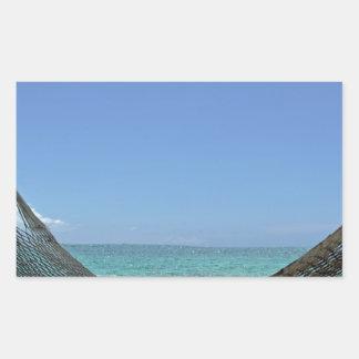カリブのビーチ 長方形シール