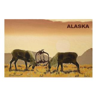 カリブーの決闘-アラスカ ウッドウォールアート