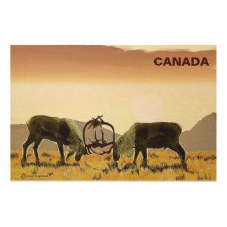 カリブーの決闘-カナダ ウッドウォールアート