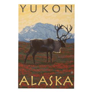 カリブー場面-ユーコン準州、アラスカ ウッドウォールアート