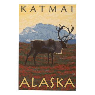 カリブー場面- Katmai、アラスカ ウッドウォールアート