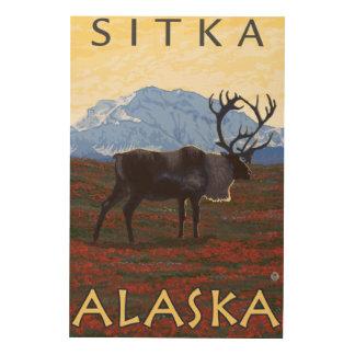 カリブー場面- Sitka、アラスカ ウッドウォールアート