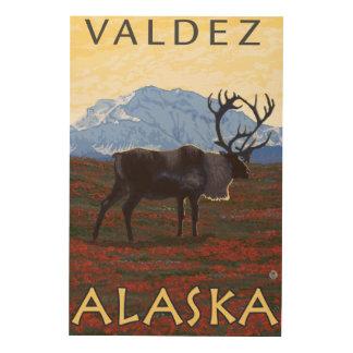 カリブー場面- Valdez、アラスカ ウッドウォールアート