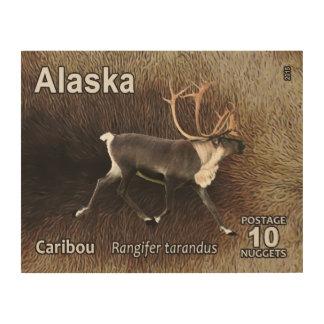 カリブー(トナカイ) -アラスカの郵便料金 ウッドウォールアート