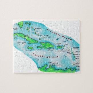 カリブ島の地図 ジグソーパズル