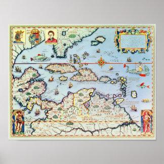 カリブ島の地図 ポスター