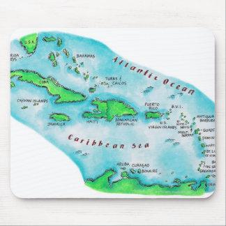 カリブ島の地図 マウスパッド