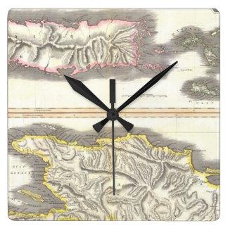 カリブ島(1815年)のヴィンテージの地図 スクエア壁時計