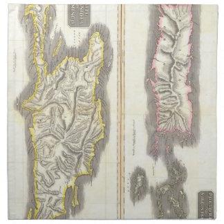 カリブ島(1815年)のヴィンテージの地図 ナプキンクロス