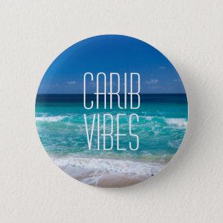 カリブ族の感情の熱帯ビーチのターコイズ水 5.7CM 丸型バッジ