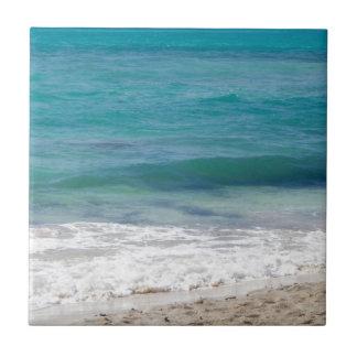 カリブ海のビーチ 正方形タイル小