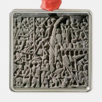 カルカソンヌの包囲を描写するレリーフ、浮き彫り メタルオーナメント