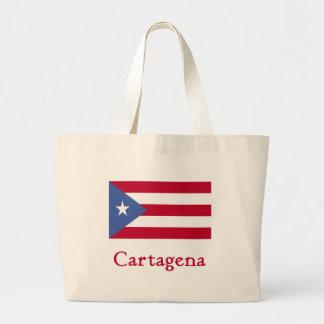 カルタヘナのプエルトリコ人の旗 ラージトートバッグ