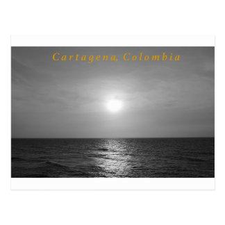 カルタヘナの日没の白黒郵便はがき ポストカード