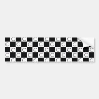 カルテルのチェック模様のロゴのステッカー バンパーステッカー