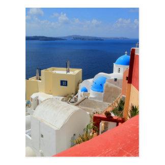 カルデラ、Oia、Santorini、ギリシャ ポストカード