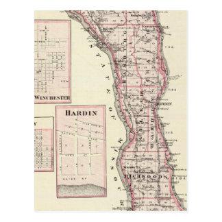カルホーン郡、ウィンチェスターの地図 ポストカード