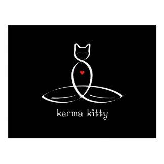 カルマの子猫-ファンシーなスタイルのテキスト ポストカード