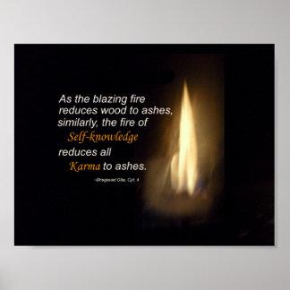 カルマの燃える火の自己認識の引用文 ポスター