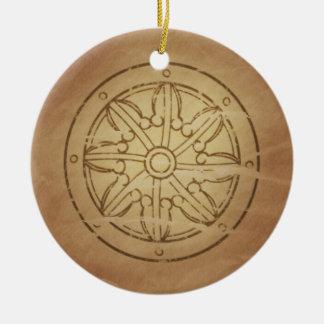 カルマ法律の仏教徒の車輪 セラミックオーナメント