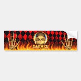 カルメンのスカルの実質火および炎のバンパーステッカー バンパーステッカー