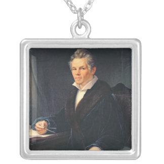カルル・フリードリッヒ・シンケル、c.1880のポートレート シルバープレートネックレス
