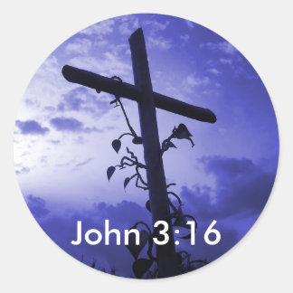 カルヴァリーのジョンの3:16のステッカーのイエス・キリストの十字 ラウンドシール