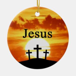 カルヴァリーの日の出のイエス・キリストのオーナメント セラミックオーナメント