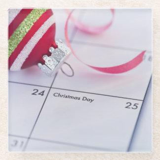 カレンダーのクリスマスのつまらないもの ガラスコースター