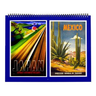 カレンダーのヴィンテージ旅行ポスター カレンダー