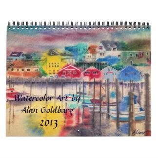 カレンダー2013年-アランGOLDBARGの水彩画の芸術 カレンダー