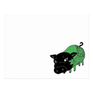 カレーの大好きなの、の黒豚の名前はチェルシーの。黒いブタチェルシー ポストカード